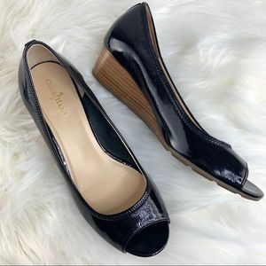 Cole Haan Patent Leather Peep Toe Wedge Sandals